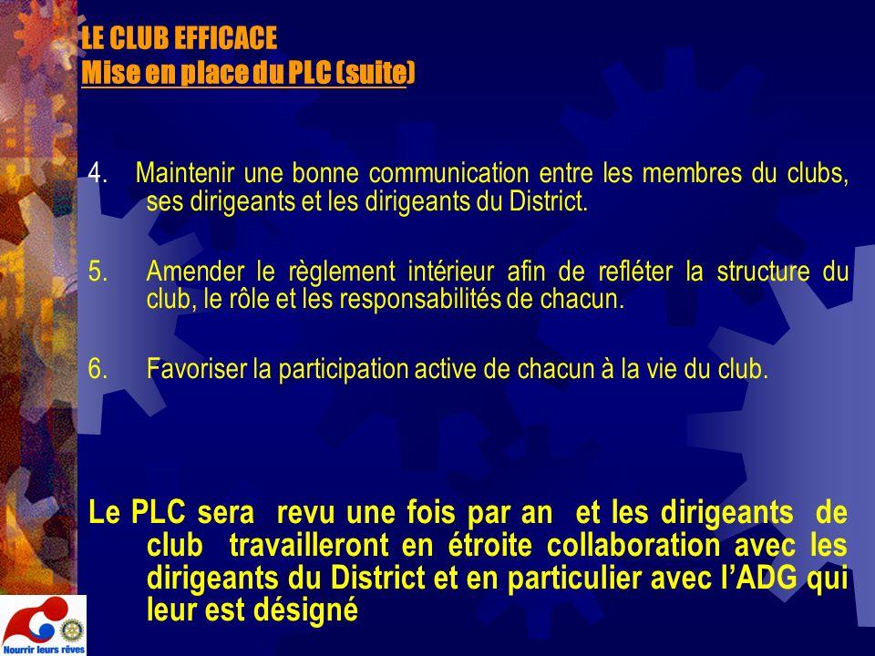 LE CLUB EFFICACE Mise en place du PLC (suite) 4. Maintenir une bonne communication entre les membres du clubs, ses dirigeants et les dirigeants du Dis