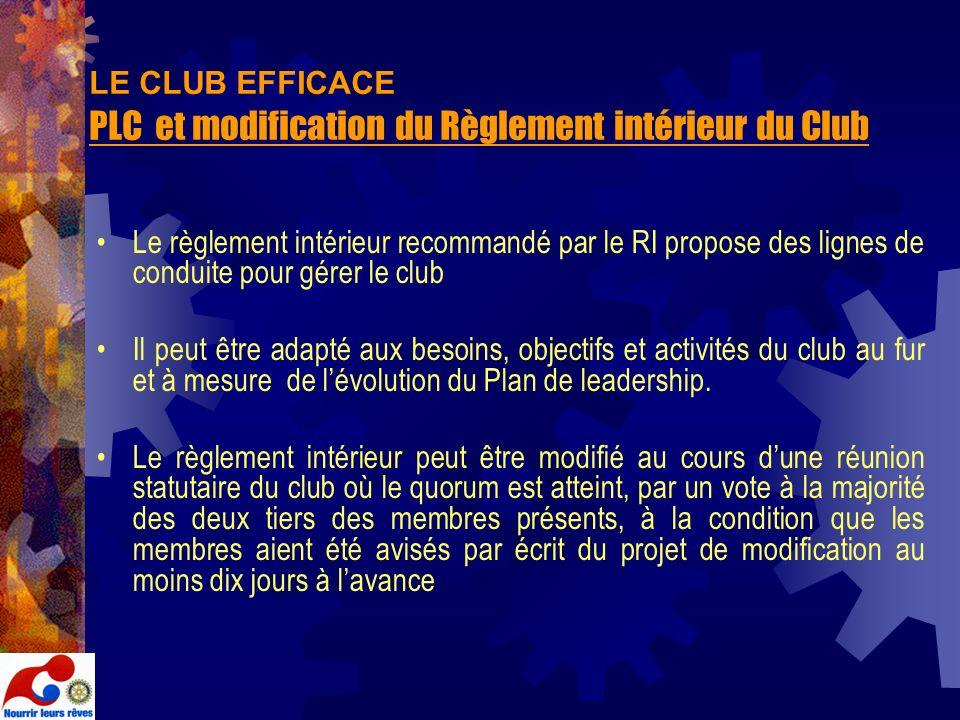 LE CLUB EFFICACE PLC et modification du Règlement intérieur du Club Le règlement intérieur recommandé par le RI propose des lignes de conduite pour gé