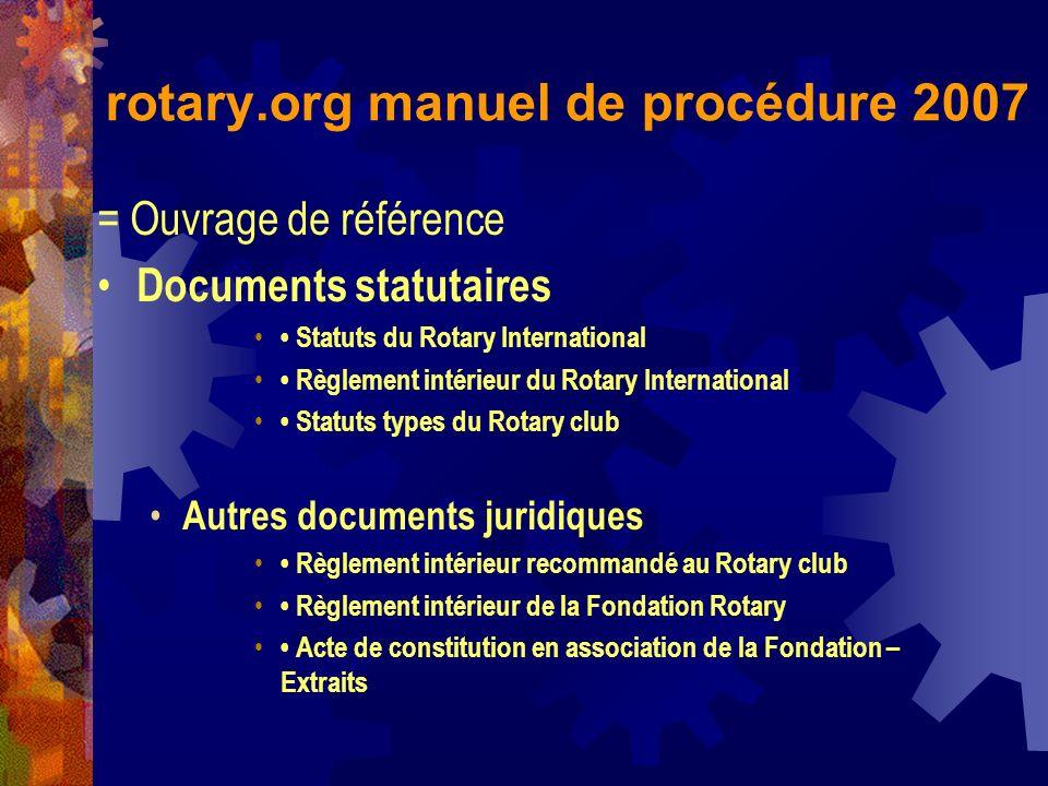 rotary.org manuel de procédure 2007 = Ouvrage de référence Documents statutaires Statuts du Rotary International Règlement intérieur du Rotary Interna
