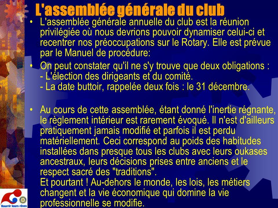 L'assemblée générale du club L'assemblée générale annuelle du club est la réunion privilégiée où nous devrions pouvoir dynamiser celui-ci et recentrer