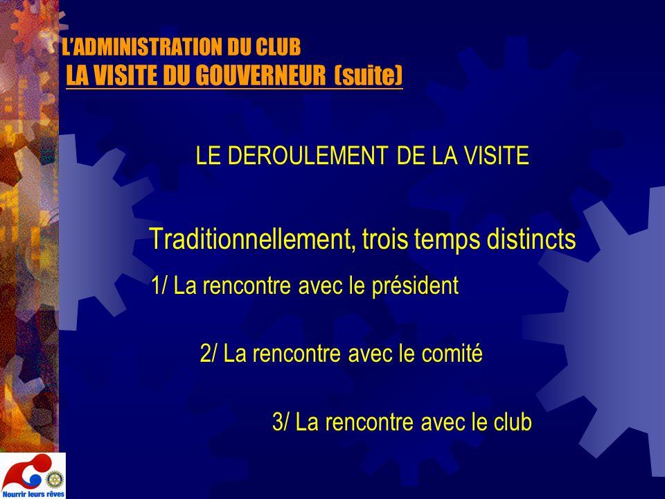 LADMINISTRATION DU CLUB LA VISITE DU GOUVERNEUR (suite) LE DEROULEMENT DE LA VISITE Traditionnellement, trois temps distincts 1/ La rencontre avec le