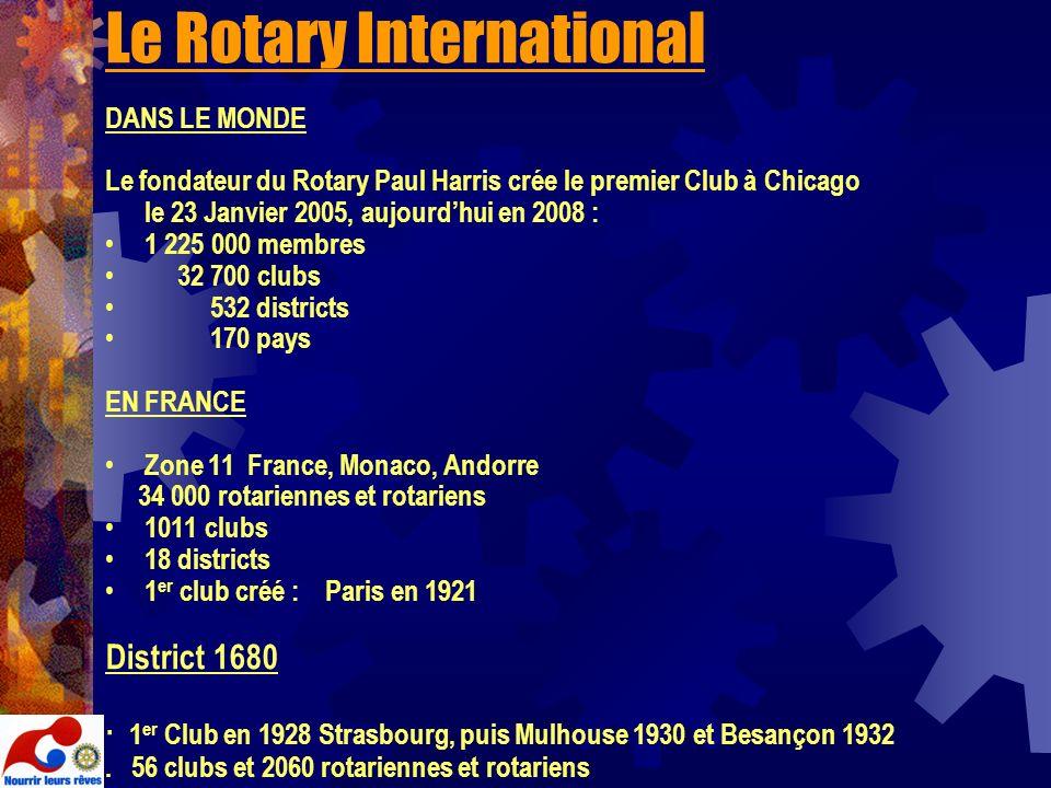 Le Rotary International DANS LE MONDE Le fondateur du Rotary Paul Harris crée le premier Club à Chicago le 23 Janvier 2005, aujourdhui en 2008 : 1 225