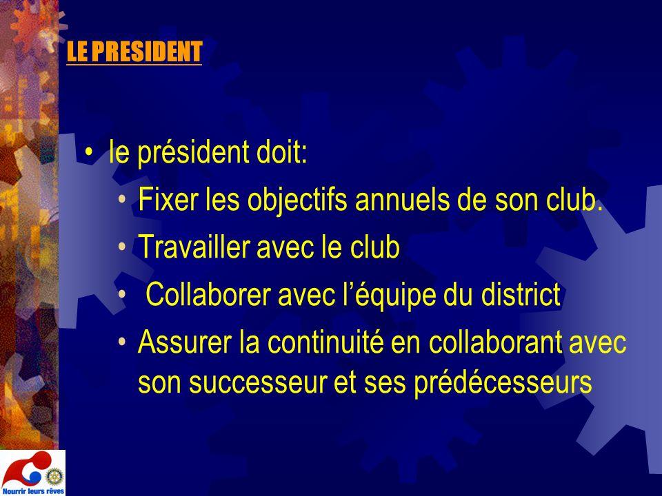 LE PRESIDENT le président doit: Fixer les objectifs annuels de son club. Travailler avec le club Collaborer avec léquipe du district Assurer la contin