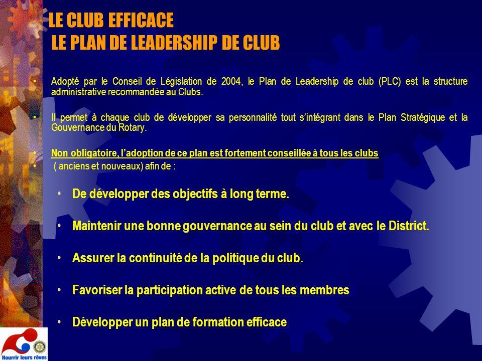 LE CLUB EFFICACE LE PLAN DE LEADERSHIP DE CLUB Adopté par le Conseil de Législation de 2004, le Plan de Leadership de club (PLC) est la structure admi