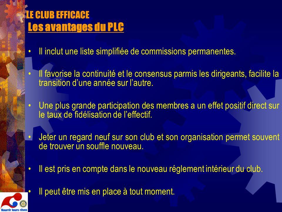 LE CLUB EFFICACE Les avantages du PLC Il inclut une liste simplifiée de commissions permanentes. Il favorise la continuité et le consensus parmis les