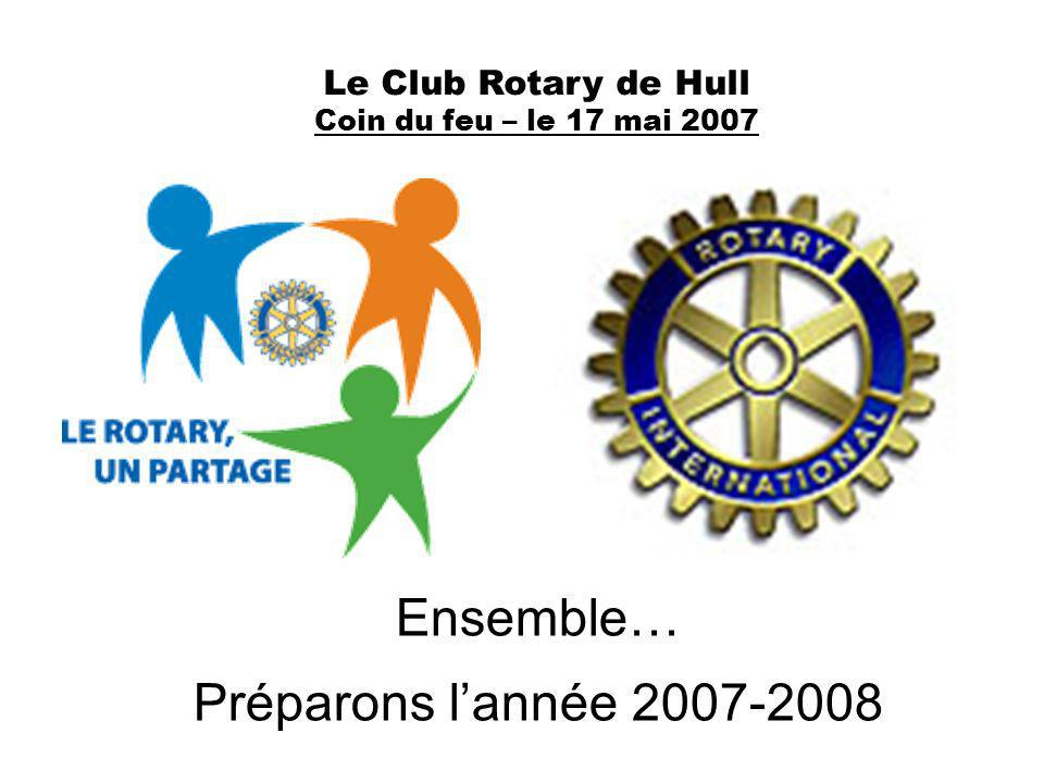 Le Club Rotary de Hull Coin du feu – le 17 mai 2007 Ensemble… Préparons lannée 2007-2008