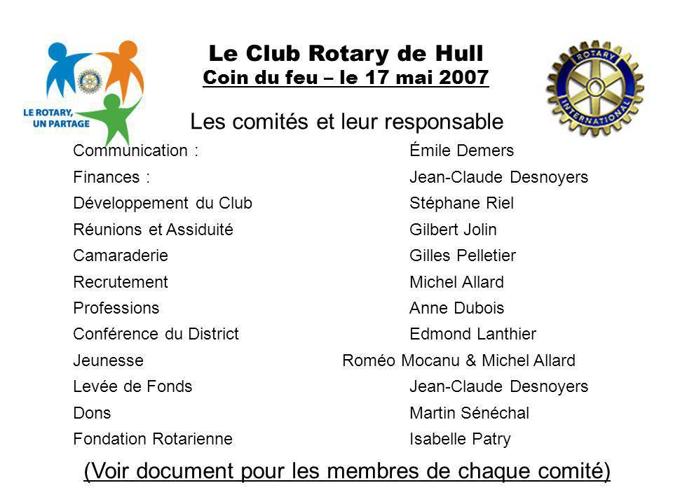 Le Club Rotary de Hull Coin du feu – le 17 mai 2007 Les comités et leur responsable Communication :Émile Demers Finances :Jean-Claude Desnoyers Dévelo