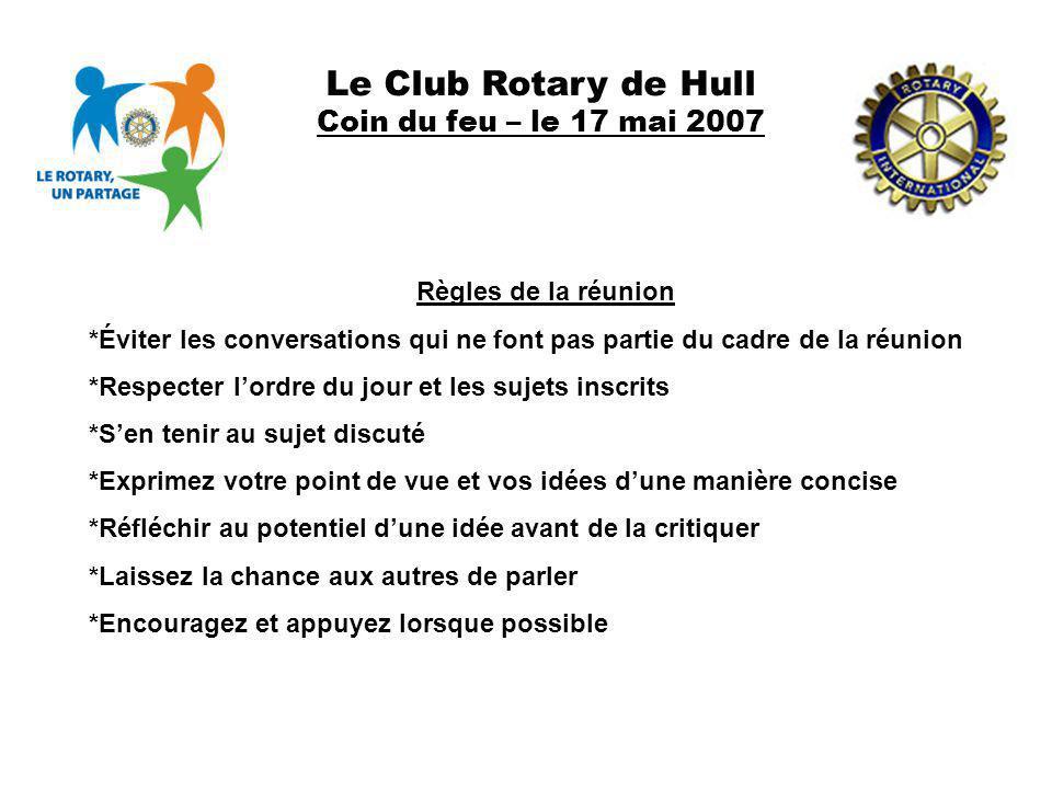 Le Club Rotary de Hull Coin du feu – le 17 mai 2007 Règles de la réunion *Éviter les conversations qui ne font pas partie du cadre de la réunion *Resp