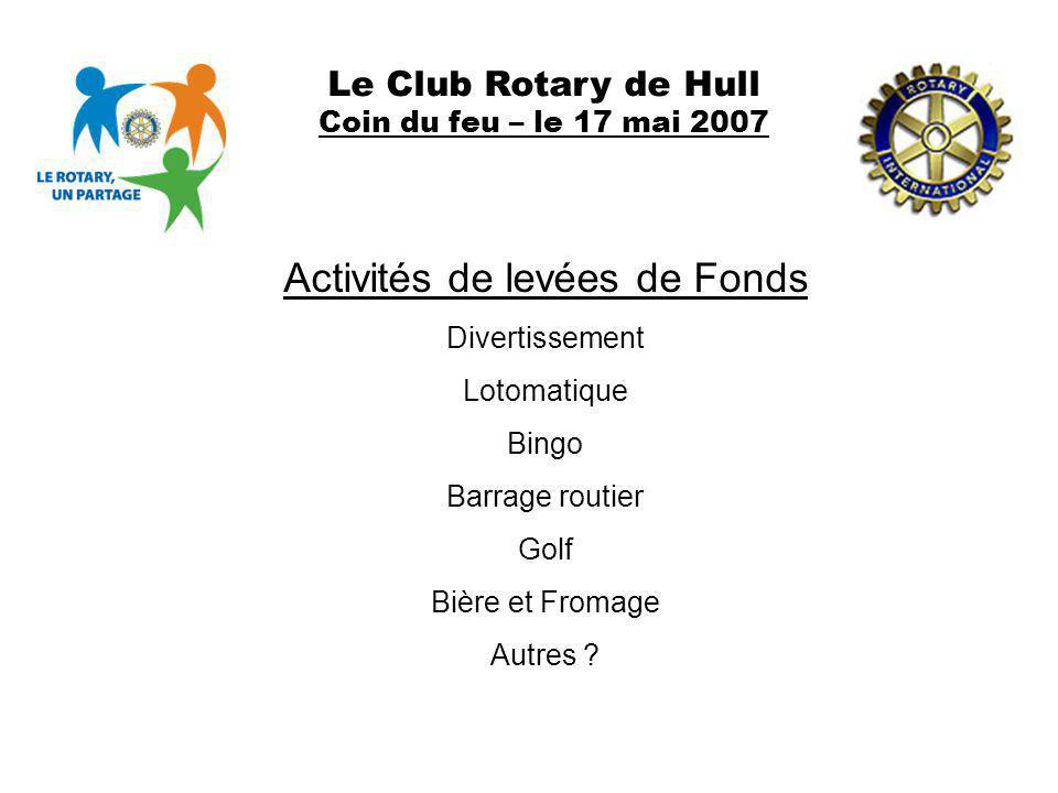 Le Club Rotary de Hull Coin du feu – le 17 mai 2007 Activités de levées de Fonds Divertissement Lotomatique Bingo Barrage routier Golf Bière et Fromag