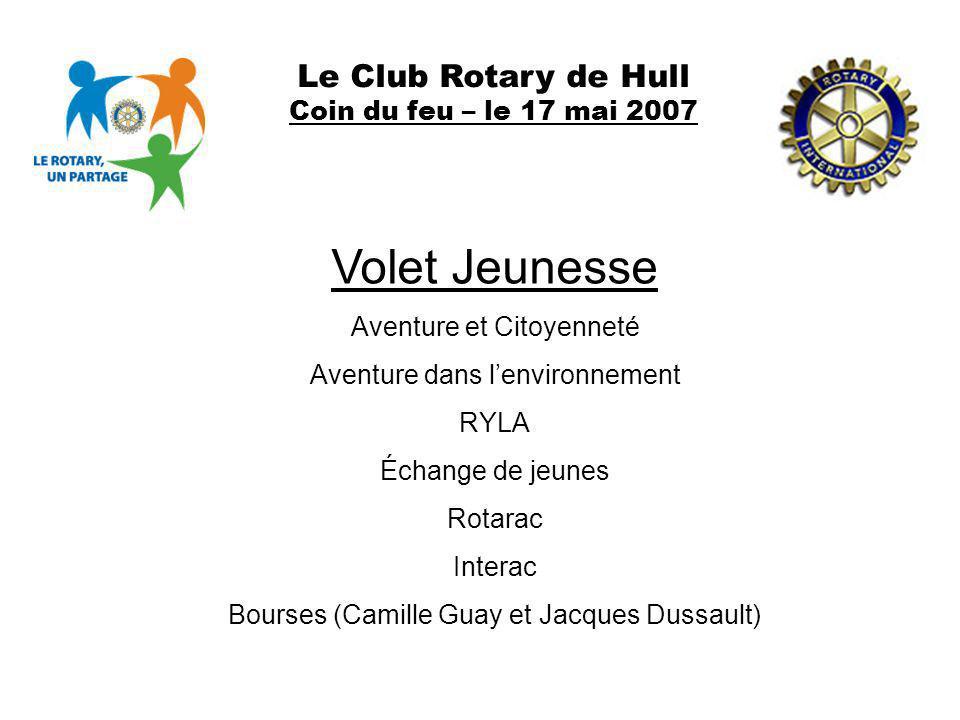 Le Club Rotary de Hull Coin du feu – le 17 mai 2007 Volet Jeunesse Aventure et Citoyenneté Aventure dans lenvironnement RYLA Échange de jeunes Rotarac