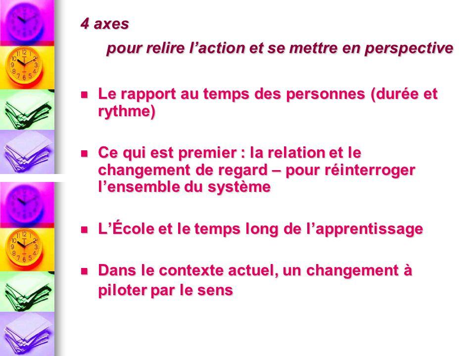 4 axes pour relire laction et se mettre en perspective Le rapport au temps des personnes (durée et rythme) Le rapport au temps des personnes (durée et