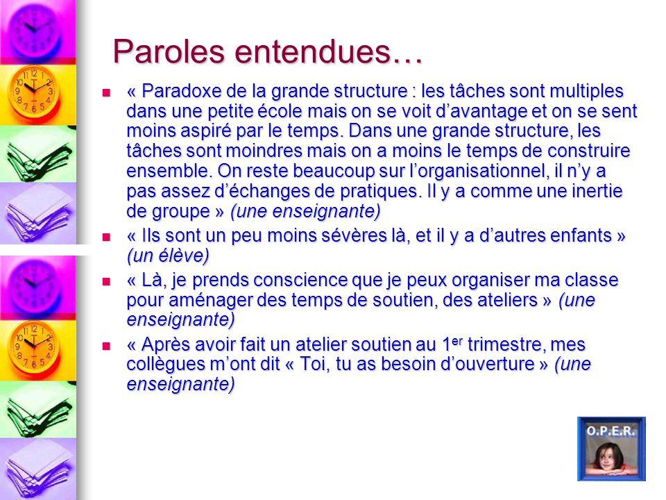 Paroles entendues… « Paradoxe de la grande structure : les tâches sont multiples dans une petite école mais on se voit davantage et on se sent moins a