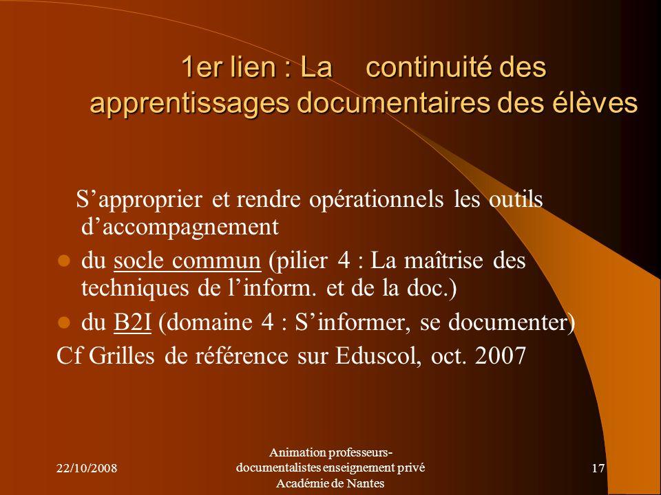 22/10/2008 Animation professeurs- documentalistes enseignement privé Académie de Nantes 16 La continuité écoles-collège :quels liens possibles.