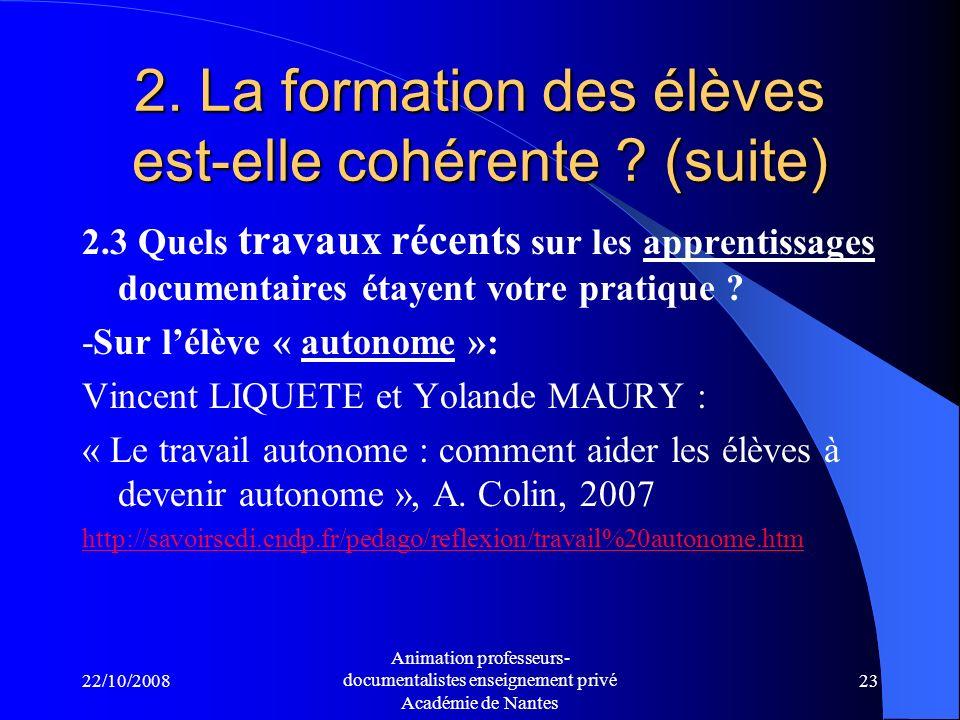 22/10/2008 Animation professeurs- documentalistes enseignement privé Académie de Nantes 22 Sitographie sur ces liens possibles : Liaison CM2-6ème et apprentissages documentaires en BCD 12 références darticles pour approfondir la question et donner des pistes de travail, septembre 2006 http://eprofsdocs.crdp-aix-marseille.fr/Liaison-CM2-6eme- apprentissages.html http://eprofsdocs.crdp-aix-marseille.fr/Liaison-CM2-6eme- apprentissages.html La continuité des apprentissages de la BCD au CDI Une sélection de 7 articles de la revue Argos http://savoirscdi.cndp.fr/pedago/apprentissages/progression bcd.htm http://savoirscdi.cndp.fr/pedago/apprentissages/progression bcd.htm
