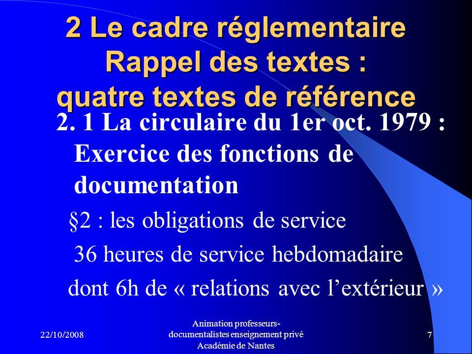 22/10/2008 Animation professeurs- documentalistes enseignement privé Académie de Nantes 6 1.2 A lécole :.1958 : Marcel Sire crée le 1er « SDI ».1974 : appellation « CDI ».Années 80: « documentaliste-bibliothécaire ».1989 : un concours de professeur- documentaliste Marie-France BLANQUET, « La ou les dénominations du métier denseignant documentaliste », 2003 http://docsdocs.free.fr/spip.php?article63