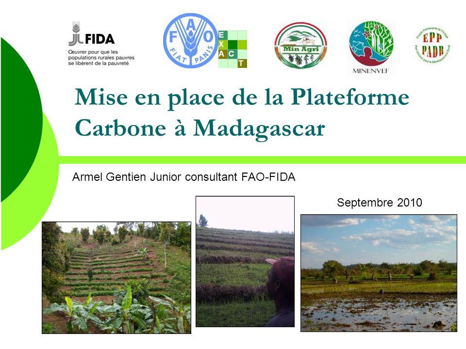 Conclusion Plateforme Carbone Primordiale pour: Renforcer les capacités des partenaires (formation outil carbone…) Permettre dévaluer le potentiel de mitigation des projets en cours et à venir et du secteur agricole Réfléchir sur les activités des projets valorisables à travers des mécanismes de financement carbone (marché carbone, volontaires…) Faciliter les demandes et lobtention de crédit carbone Développer et rassembler des facteurs démissions précis spécifiques à Madagascar Développer des partenariats et mobiliser les différents acteurs pour travailler ensemble (ministères, centres de recherche, organisations internationales…) …