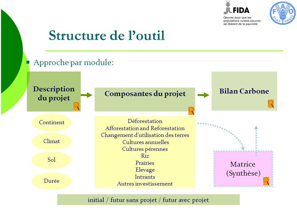Approche par module: Composantes du projet Description du projet Bilan Carbone Climat Continent Sol Durée Déforestation Afforestation and Reforestatio