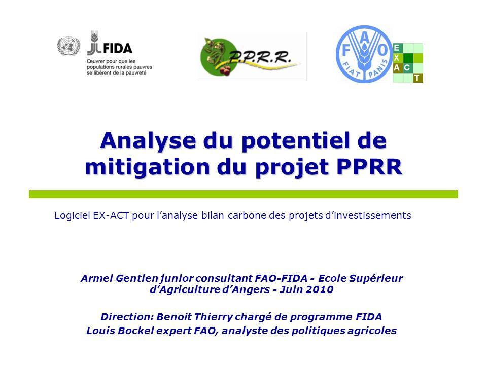 Logiciel EX-ACT pour lanalyse bilan carbone des projets dinvestissements Analyse du potentiel de mitigation du projet PPRR Armel Gentien junior consul