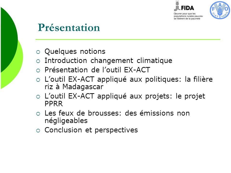 Conclusion A terme, Madagascar pourrait devenir un pays pionnier dans le secteur du carbone et dune agriculture à faible émission de carbone -adoption de pratique moins émettrice de méthane pour le riz -Limitation des feux de brousses -Réhabilitation des bassins versants: techniques dagroforesterie… -Augmenter le pool de carbone du sol: Agriculture de conservation -…-… Ces activités pourraient se développer grâce aux crédits carbone, et permettraient de participer à la fois à la lutte et ladaptation contre le CC, et linsécurité alimentaire