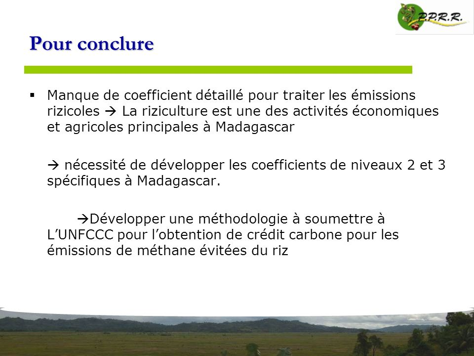 Pour conclure Manque de coefficient détaillé pour traiter les émissions rizicoles La riziculture est une des activités économiques et agricoles princi