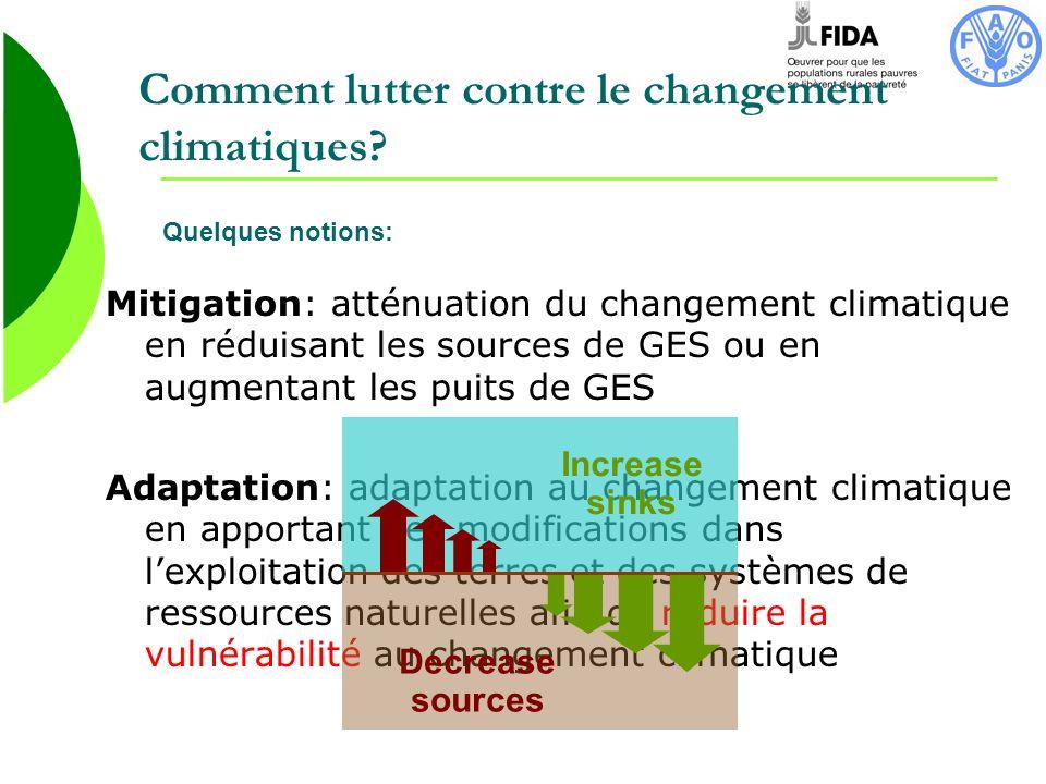 Comment lutter contre le changement climatiques? Mitigation: atténuation du changement climatique en réduisant les sources de GES ou en augmentant les
