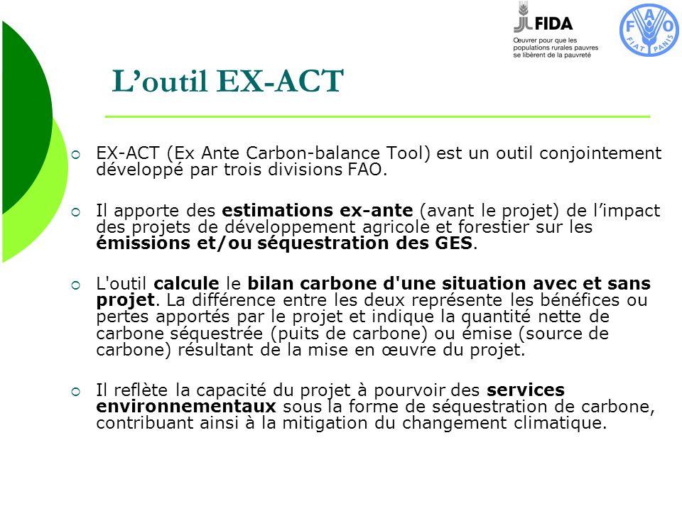 Loutil EX-ACT EX-ACT (Ex Ante Carbon-balance Tool) est un outil conjointement développé par trois divisions FAO. Il apporte des estimations ex-ante (a