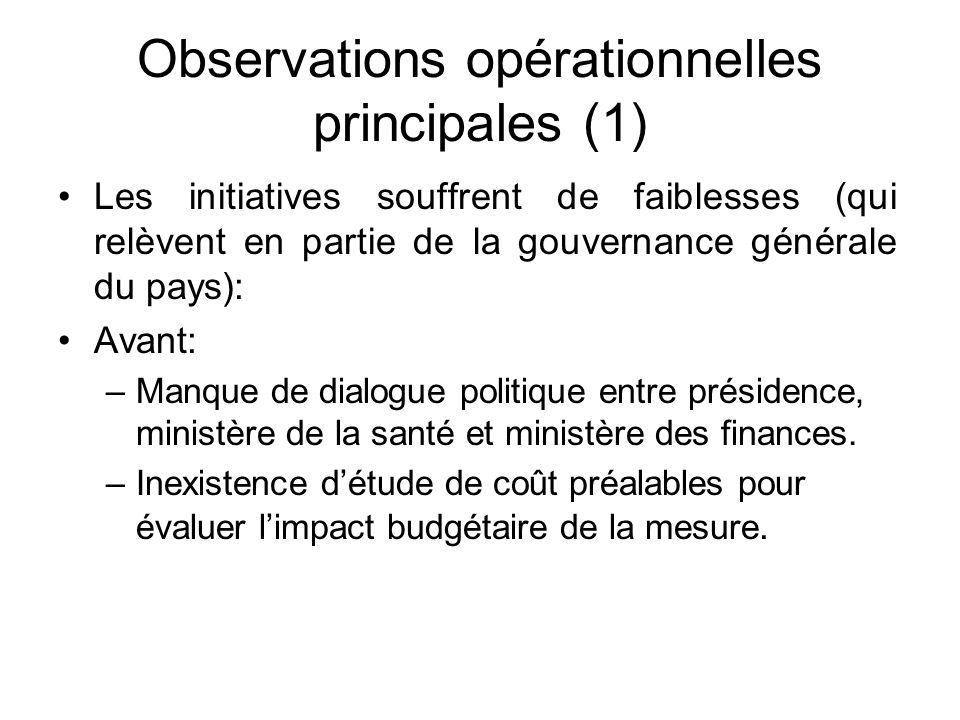 Observations opérationnelles principales (1) Les initiatives souffrent de faiblesses (qui relèvent en partie de la gouvernance générale du pays): Avant: –Manque de dialogue politique entre présidence, ministère de la santé et ministère des finances.