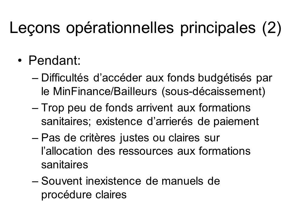 Leçons opérationnelles principales (2) Pendant: –Difficultés daccéder aux fonds budgétisés par le MinFinance/Bailleurs (sous-décaissement) –Trop peu d
