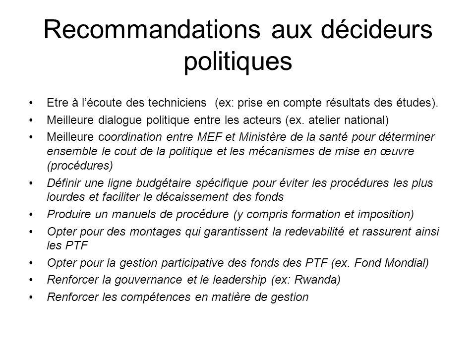 Recommandations aux décideurs politiques Etre à lécoute des techniciens (ex: prise en compte résultats des études). Meilleure dialogue politique entre