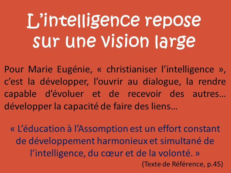 Lintelligence repose sur une vision large Pour Marie Eugénie, « christianiser lintelligence », cest la développer, louvrir au dialogue, la rendre capa