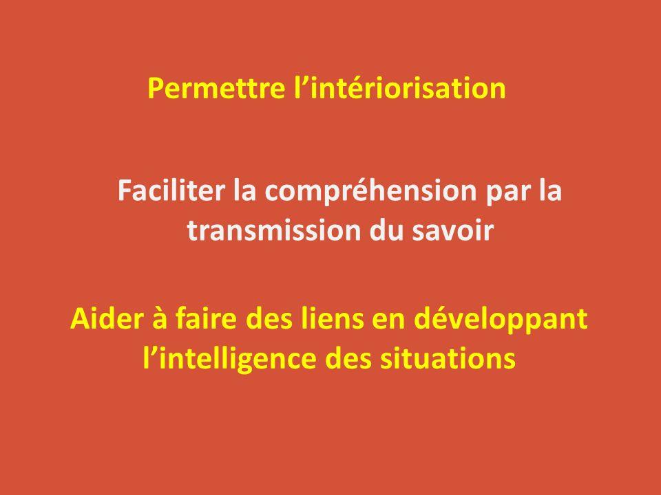 Permettre lintériorisation Faciliter la compréhension par la transmission du savoir Aider à faire des liens en développant lintelligence des situation