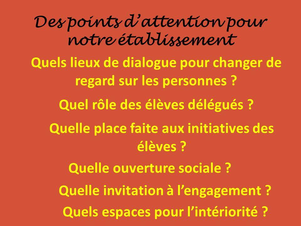 Des points dattention pour notre établissement Quels lieux de dialogue pour changer de regard sur les personnes ? Quel rôle des élèves délégués ? Quel
