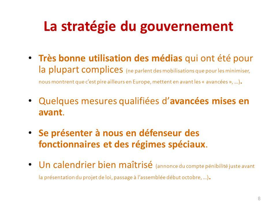 La stratégie du gouvernement Très bonne utilisation des médias qui ont été pour la plupart complices (ne parlent des mobilisations que pour les minimiser, nous montrent que cest pire ailleurs en Europe, mettent en avant les « avancées », …).