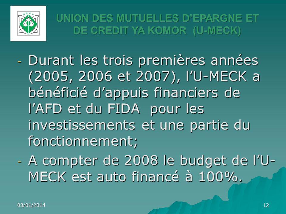 03/01/201412 - Durant les trois premières années (2005, 2006 et 2007), lU-MECK a bénéficié dappuis financiers de lAFD et du FIDA pour les investisseme
