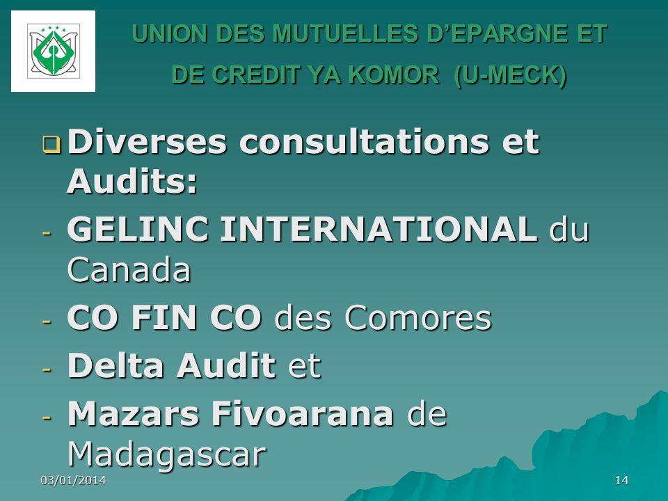 03/01/201414 UNION DES MUTUELLES DEPARGNE ET DE CREDIT YA KOMOR (U-MECK) Diverses consultations et Audits: Diverses consultations et Audits: - GELINC