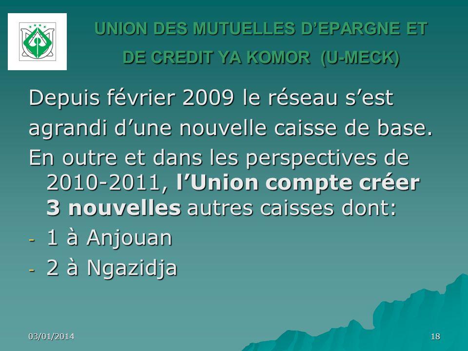 Depuis février 2009 le réseau sest agrandi dune nouvelle caisse de base. En outre et dans les perspectives de 2010-2011, lUnion compte créer 3 nouvell