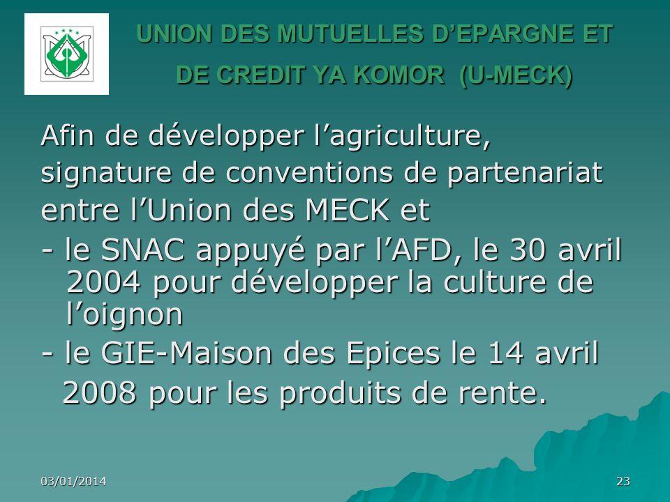03/01/201423 UNION DES MUTUELLES DEPARGNE ET DE CREDIT YA KOMOR (U-MECK) Afin de développer lagriculture, signature de conventions de partenariat entr