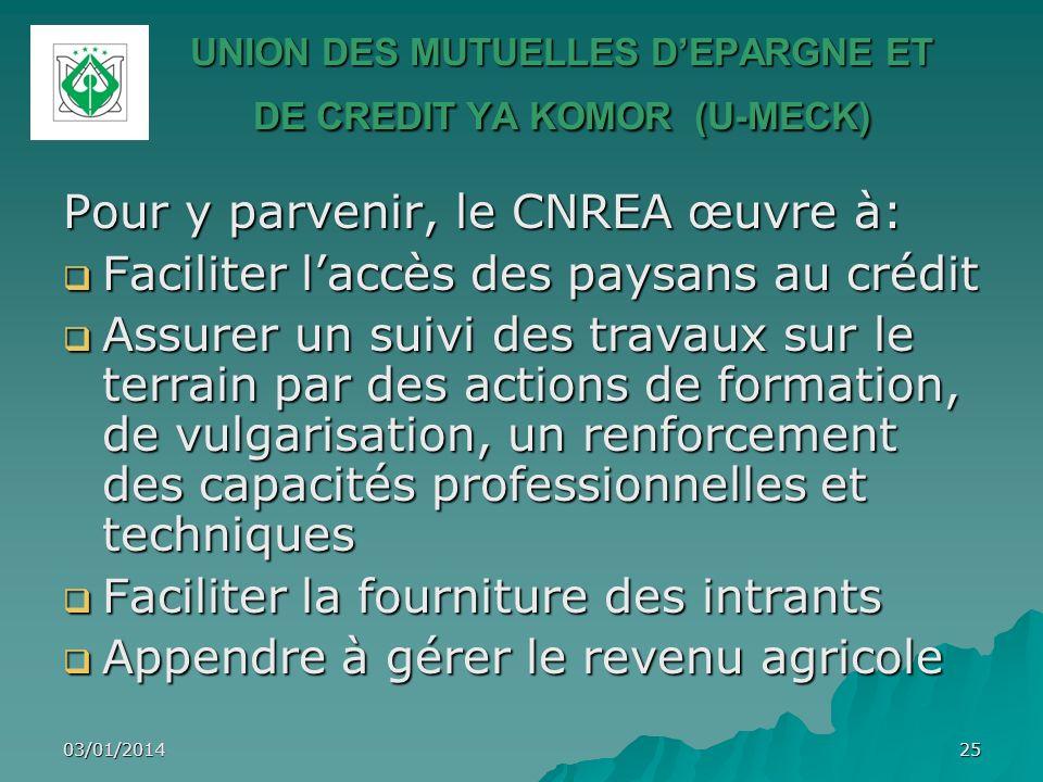 03/01/201425 UNION DES MUTUELLES DEPARGNE ET DE CREDIT YA KOMOR (U-MECK) Pour y parvenir, le CNREA œuvre à: Faciliter laccès des paysans au crédit Fac