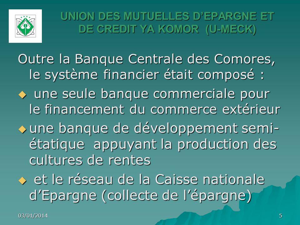 UNION DES MUTUELLES DEPARGNE ET DE CREDIT YA KOMOR (U-MECK) Outre la Banque Centrale des Comores, le système financier était composé : une seule banqu