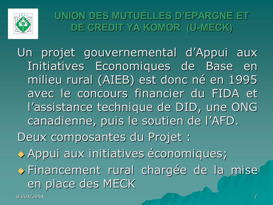 UNION DES MUTUELLES DEPARGNE ET DE CREDIT YA KOMOR (U-MECK) Un projet gouvernemental dAppui aux Initiatives Economiques de Base en milieu rural (AIEB)