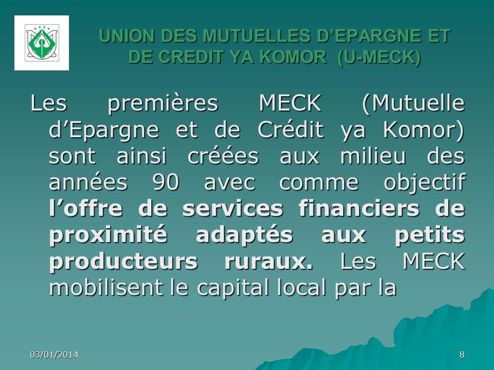 UNION DES MUTUELLES DEPARGNE ET DE CREDIT YA KOMOR (U-MECK) 03/01/201419 Ngazidja (8) Ndzouani (4) Mwali (1) Zone dintervention de lU-MECK