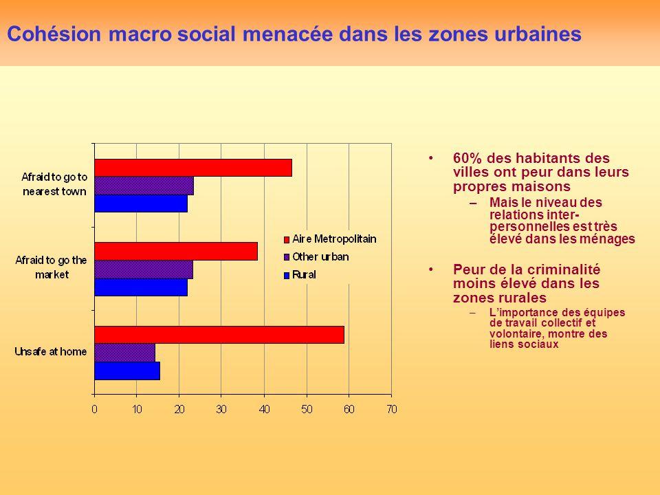 Cohésion macro social menacée dans les zones urbaines 60% des habitants des villes ont peur dans leurs propres maisons –Mais le niveau des relations inter- personnelles est très élevé dans les ménages Peur de la criminalité moins élevé dans les zones rurales –Limportance des équipes de travail collectif et volontaire, montre des liens sociaux