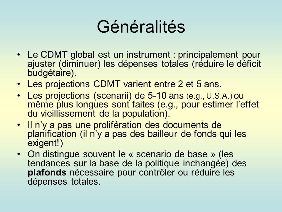 Généralités Le CDMT global est un instrument : principalement pour ajuster (diminuer) les dépenses totales (réduire le déficit budgétaire).