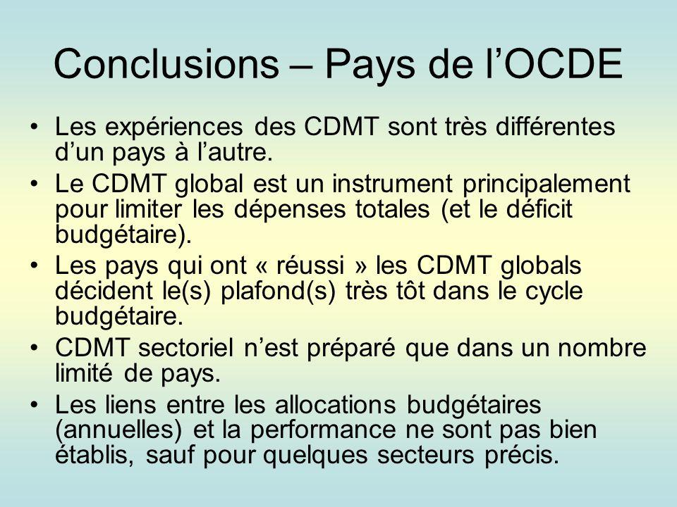Conclusions – Pays de lOCDE Les expériences des CDMT sont très différentes dun pays à lautre.