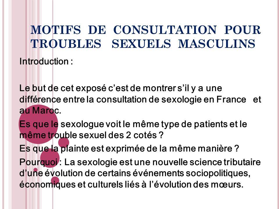 MOTIFS DE CONSULTATION POUR TROUBLES SEXUELS MASCULINS Introduction : Le but de cet exposé cest de montrer sil y a une différence entre la consultatio