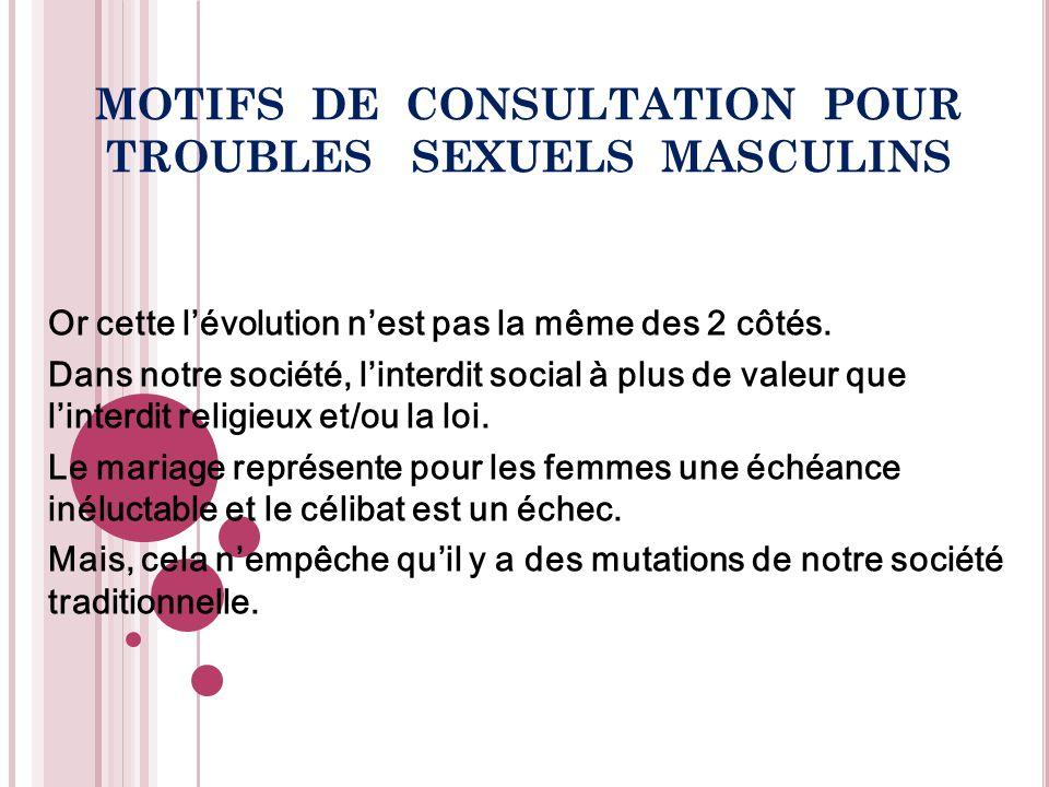 MOTIFS DE CONSULTATION POUR TROUBLES SEXUELS MASCULINS Cette évolution fait quil y a un recul du mariage, lié à des contraintes dordre économique (coût de vie élevé, chômage…).