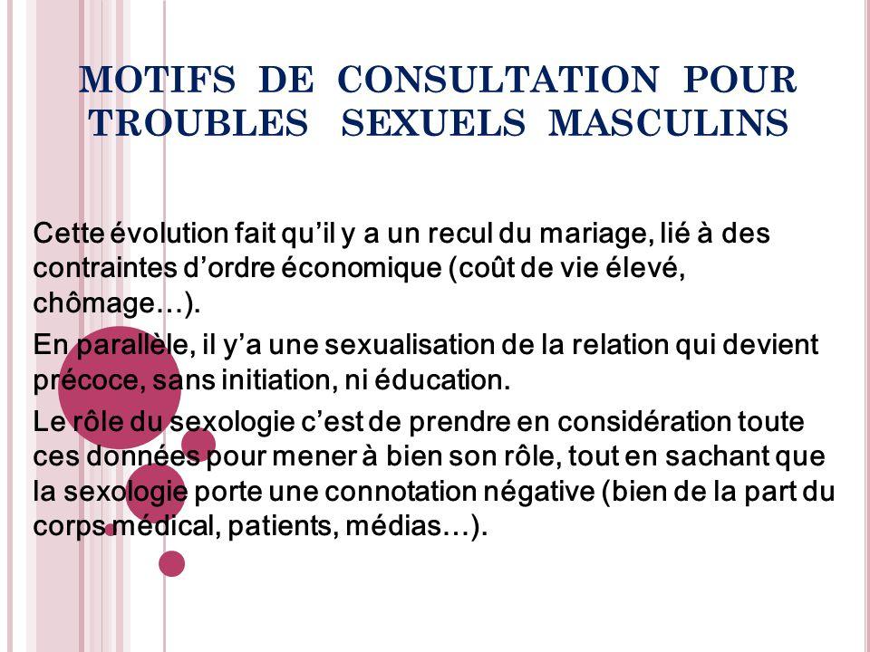 MOTIFS DE CONSULTATION POUR TROUBLES SEXUELS MASCULINS Sexologues attention .