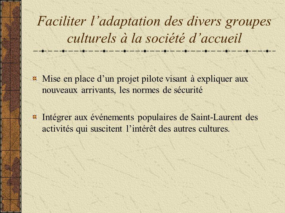 Faciliter ladaptation des divers groupes culturels à la société daccueil Mise en place dun projet pilote visant à expliquer aux nouveaux arrivants, les normes de sécurité Intégrer aux événements populaires de Saint-Laurent des activités qui suscitent lintérêt des autres cultures.