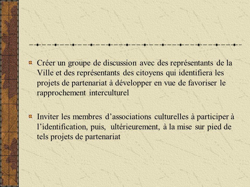 Créer un groupe de discussion avec des représentants de la Ville et des représentants des citoyens qui identifiera les projets de partenariat à développer en vue de favoriser le rapprochement interculturel Inviter les membres dassociations culturelles à participer à lidentification, puis, ultérieurement, à la mise sur pied de tels projets de partenariat