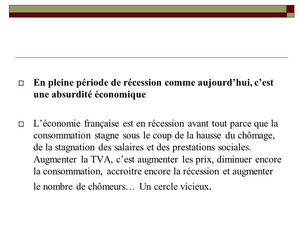 En pleine période de récession comme aujourdhui, cest une absurdité économique Léconomie française est en récession avant tout parce que la consommation stagne sous le coup de la hausse du chômage, de la stagnation des salaires et des prestations sociales.